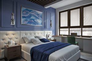 Синяя спальня в современном стиле