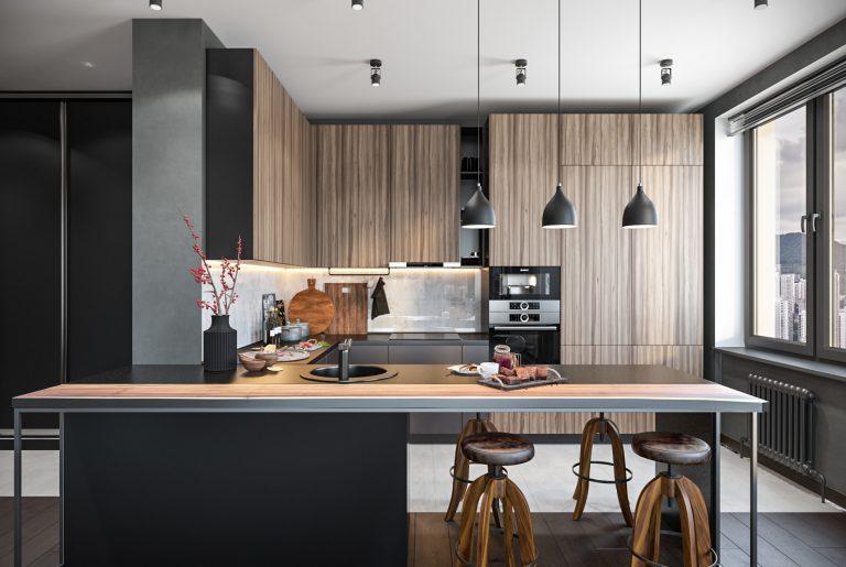 Барная зона и зона готовки в современной квартире с потрясающим видом