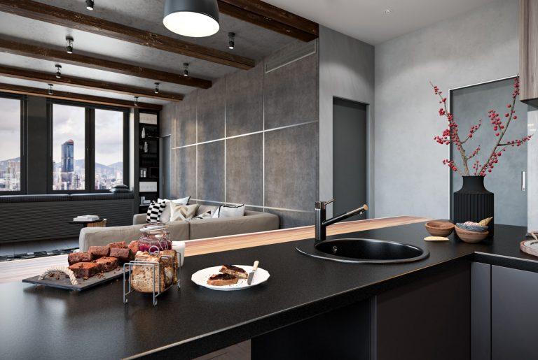 Объединенная современная кухня-гостиная с деревянными потолочными балками