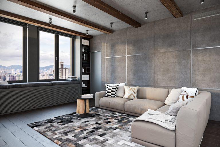 Мягкая зона большой современной гостиной