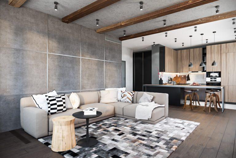 Просторная современная кухня-гостиная с большим угловым диваном