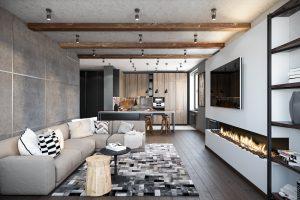 Просторная современная гостиная с большим камином и барной стойкой