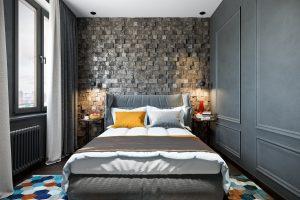 спальня с деревянными 3D-панелями у изголовья кровати