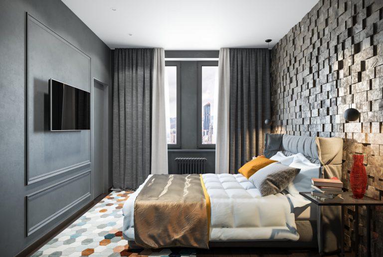 Сдержанная современная спальня с яркими акцентами