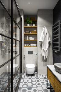 Душевой уголок в современном интерьере с элементами лофт