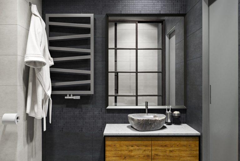 ванная с каменной раковиной и контрастными стенами