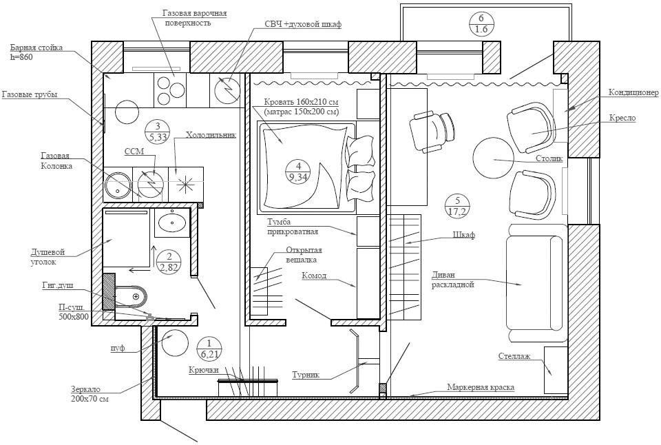 Планировка двушки в старом доме 42 кв.м