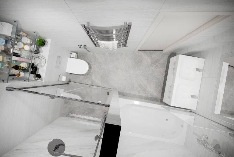 основная ванная с мраморными стенами