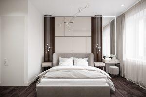 соврменная спальня с 3D-панелями у изголовья кровати