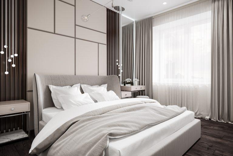 3D-панели у изголовья кровати