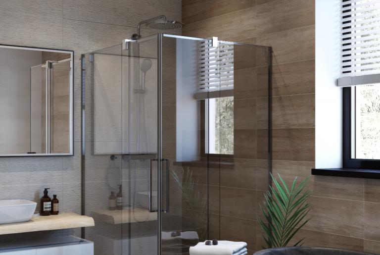 Отдельностоящая ванна из бетона и душевой уголок