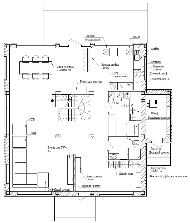 планировка первого этажа загородного дома