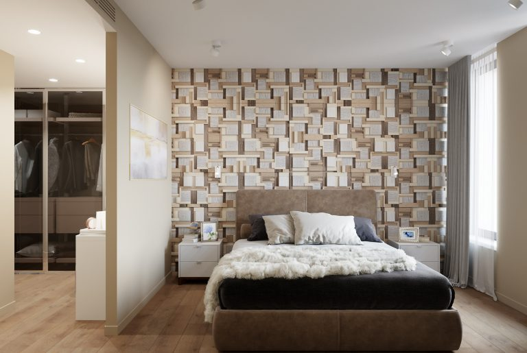 мастер-спальня с панелями у изголовья