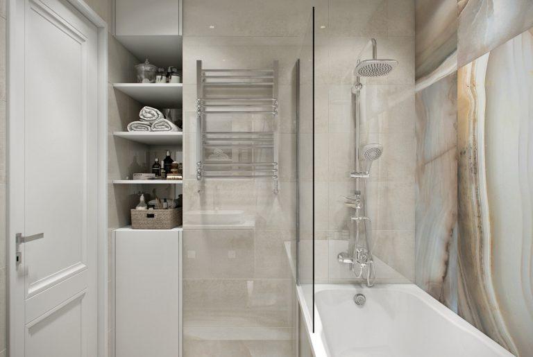 ванная с полками в нише