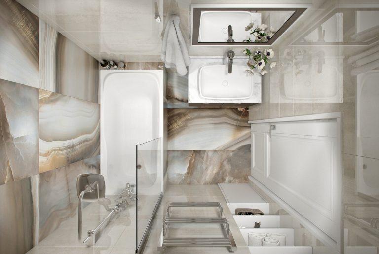 светлая ванная с ониксом