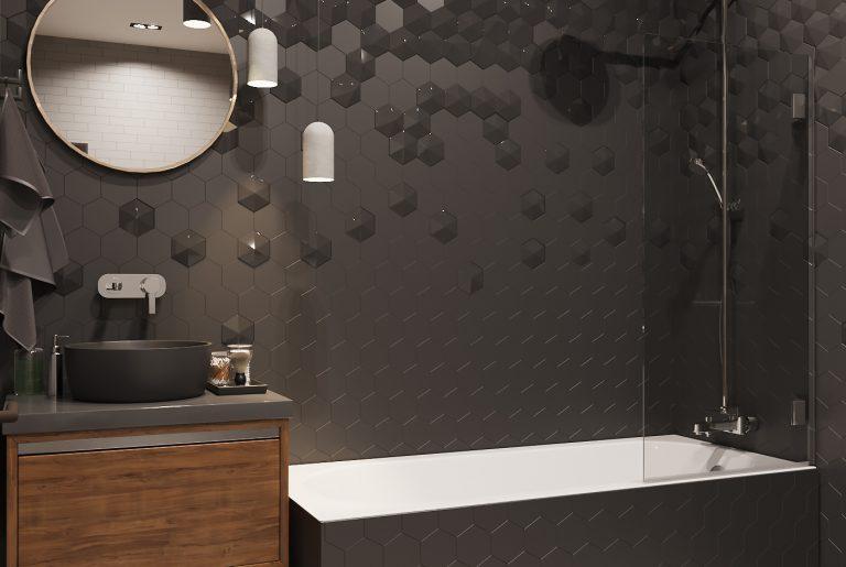 просторная ванная в темных тонах