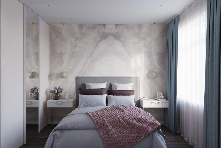 спальня с декором у изголовья