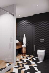 черная стена в ванной