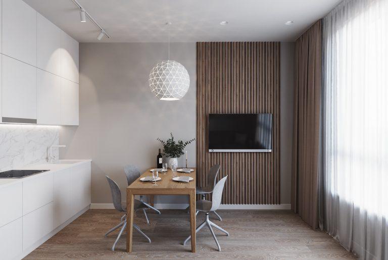 обеденная зона в современной гостиной