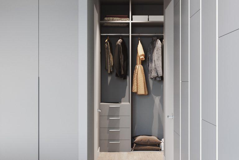 открытый гардероб в спальне
