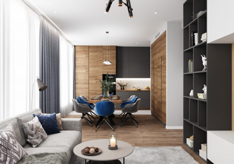 The apartment of 90 sq.m. in a contemporary style