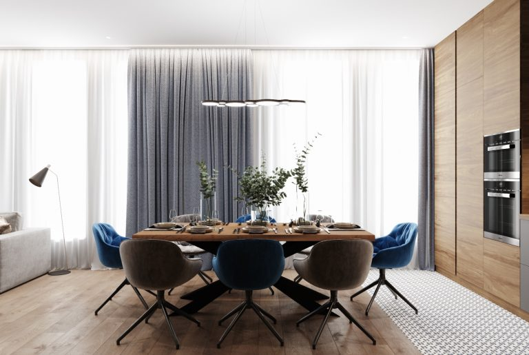 обеденная зона в гостиной с большим столом
