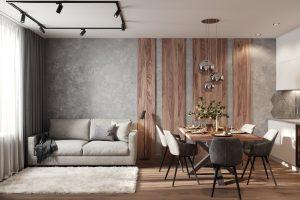 панели из шпона в гостиной