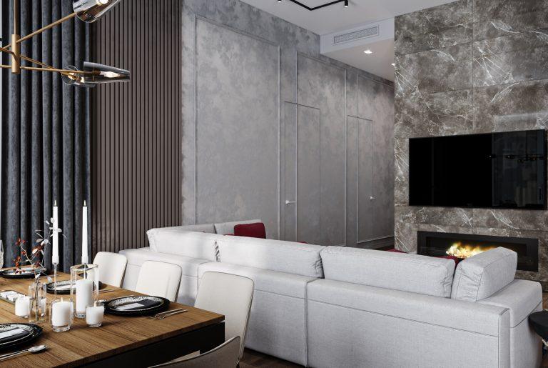 зона просмотра ТВ в гостиной