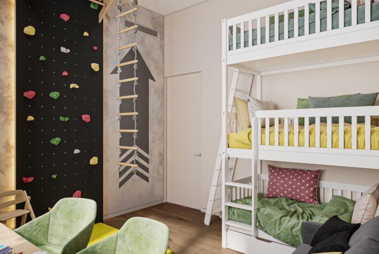 трехэтажная кровать в детской