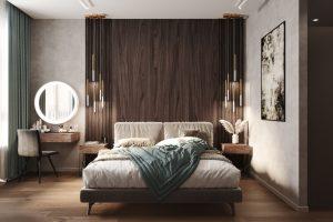 шпонированные панели у изголовья кровати