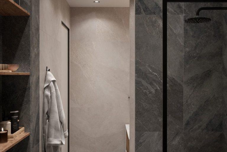 вид на вход в ванную