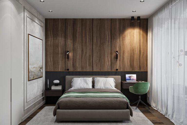 кровать в гостевой спальне